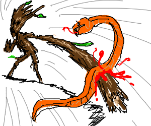 realistic stick man stabs snake