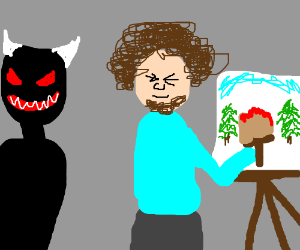 bob ross painting while black demon stares closely