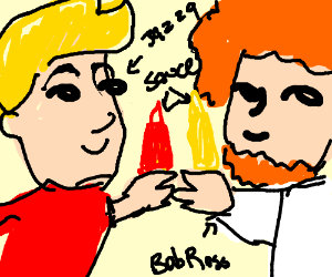 jazza and bob ross in a saucy situation