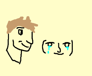 Jazza head with lenny face crying while