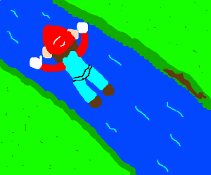 mario floats over river