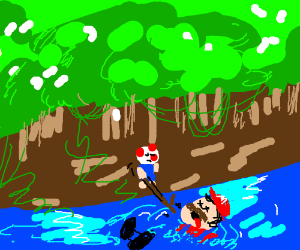 mario's corpse floating downstream