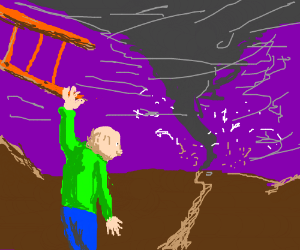 man hangs from sideways ladder watches weather