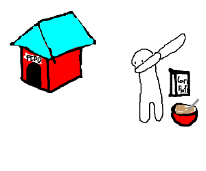 A dog house and a guy dabbing next to cereal?