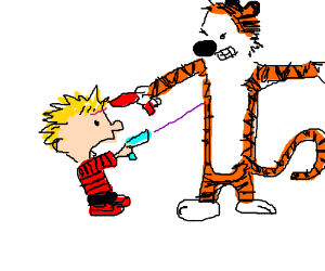 Calvin and Hobbes fire lasers at each other