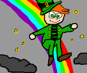 Leprechaun on a rainbow surrounded by coins