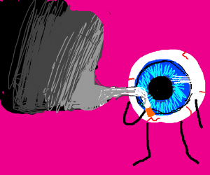 Eyeball smokes cigarette n creates black void
