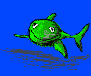 Drawception nowadays is all Kermit and sharks