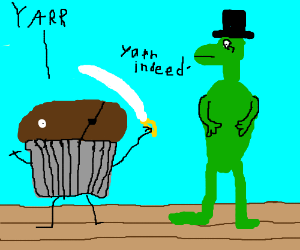 pirate muffin and fancy dinosaur