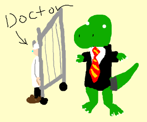 doctor who hides from dino in suit