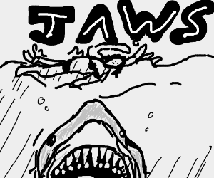 jaws about to eat swimming lady