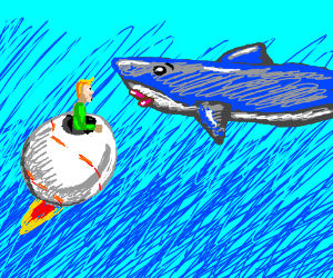A man in a flying Baseball about to kiss shark