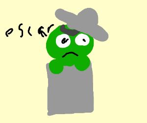 Oscar the grouch's trash can, lid closed