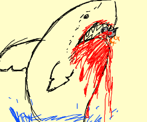 Shark bursting out of the water - Drawception
