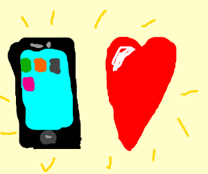 Black phone  with heart next to it