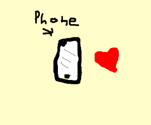 Black phone with a heart next to it