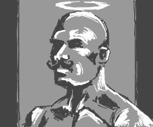 bald muscular man is god