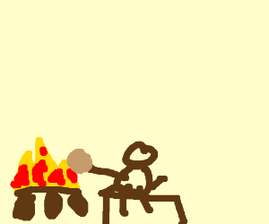 roasting a coconut over a camp fire