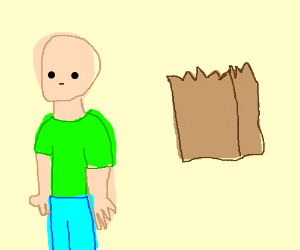 brown paper bag next to person