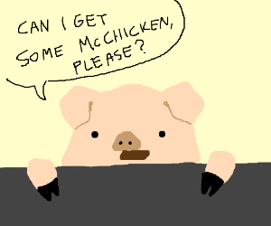 A pig orders McChicken