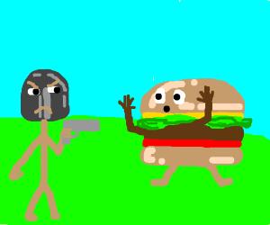 shovel knight shooting a burger