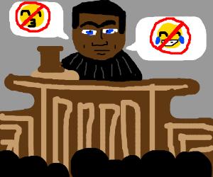 Judge with a mono brow bans emojis