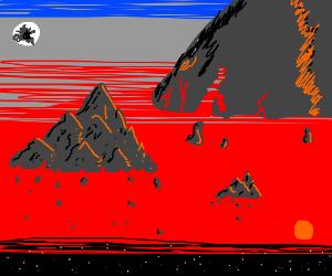 Perilous landscape of floating mountains