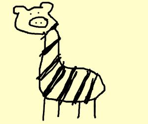 gray giraffe-zebra-pig with wimpy legs