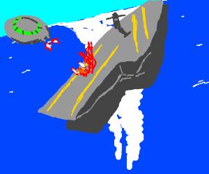Alien Ship destroys Air-carrier