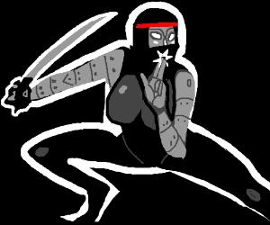 ninja robot with huge breasts