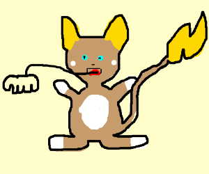 Alolan Raichu With Arm Sprouting Out Its Mouth Drawception