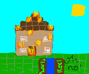 OH NO MY HOUSE IS ON FIRE(minecraft)