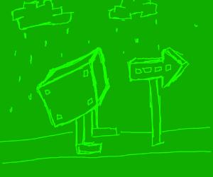 Green walking cube