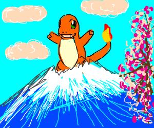Charmander emerges from Mt Fuji