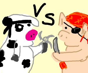 Cow Ninja Vs Pig Pirate