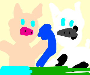Cow and Pig fighting over towel at the pond