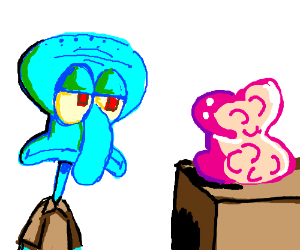 Squidward next to small pink blob