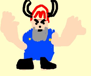 Mario cosplay with horns in his hat