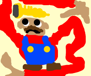 Chubby Mario, horns on hat giant mutant arms