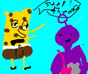 Telletubbie stole thing from spongebob