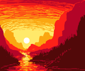 red valley river sunset
