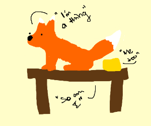 Foxy thing with yellow thing on a table thing.