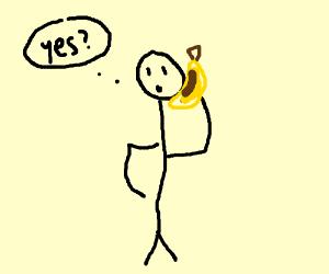 guy anwsering a banana phone