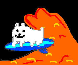 The Annoying Dog (Undertale) Is Surfing Lava