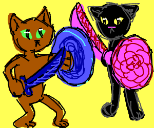 Two Cats Fight With Weapons
