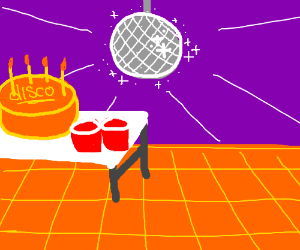 disco with red cups massive cake and disco bal drawing by kitkat7232