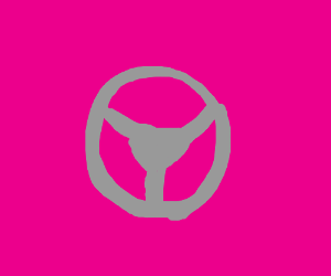 Steering wheel on a pink background