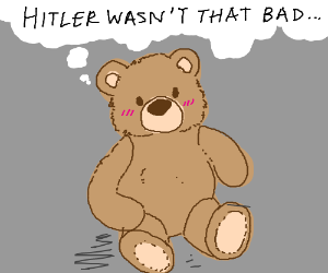 Teddy bear thinking bad thoughts