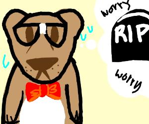 Nerdy bear worries about inevitable death