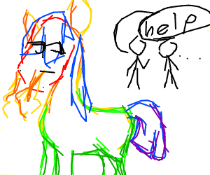 Man Asking for help because rainbow horse